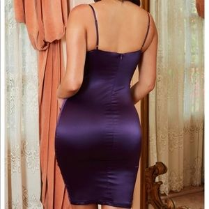 XPLICIT UNDERWIRED SHEER SATIN LACE DRESS purple